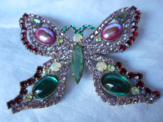Huge Realistic Butterfly Iridescent Glass & Rhines