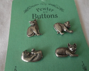 Set of 4 Danforth Pewter Metal Playing Cat BUTTONS