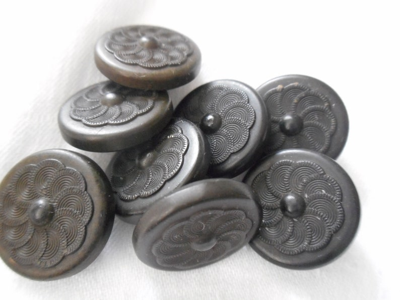 Set 8 ANTIQUE VINTAGE  Swirl Petal Flower Black Signed Goodyear Rubber Metal Shank Collectible Sewing Supply Craft Closure Finding BUTTONS