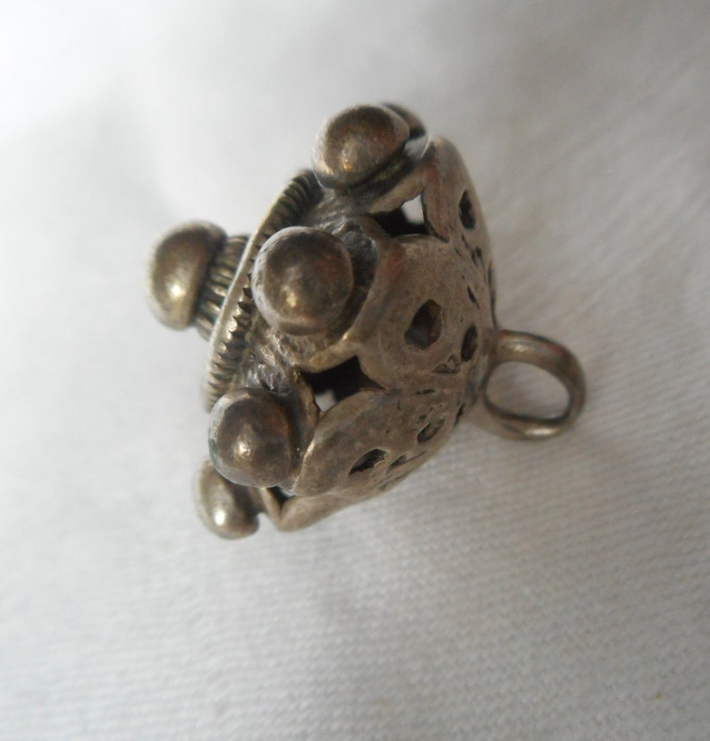 1\u201d VINTAGE ANTIQUE Knob Dot Chunky Pierced Silver Metal Ball Peasant Metal Costume Clothing Collectible Sewing Supply Finding Closure BUTTON