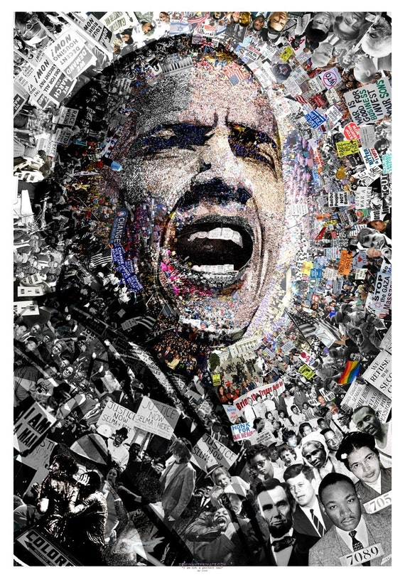 "/""I Am Not A Perfect Man/"" 27x39/"" Civil Rights Protest Barack Obama Poster Signed"
