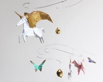 Unicorn Nursery Mobile Unicorn Baby Gift Custom Origami Art Mobile for Girl Unicorn Decor Fantasy Crib Mobile Baby Shower Gift for Girl Baby
