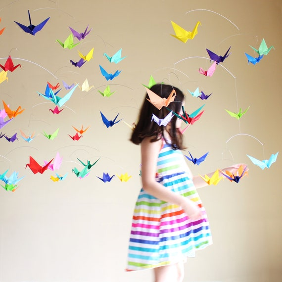 Origami Mobile Paper Crane Mobile Ceiling Art Colorful Etsy
