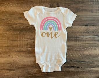 Pastel rainbow baby first birthday onesie