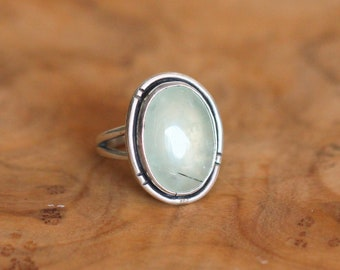 Green Prehnite Boho Ring - Green Prehnite Ring - Silversmith Ring - Green Statement Ring