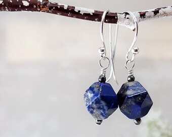 Nugget Earrings in  Lapis Lazuli -- .925 Sterling Silver Lapis Lazuli Earrings Lapis Drops
