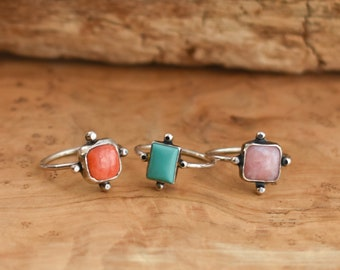 Pink Opal Stacker Unique Silversmith Fun Pink Opal Ring Crisscross Ring
