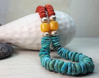 Colorblock Necklace in Turquoise, Sponge Coral, Copal Amber -- .925 Sterling Silver -- Long Turquoise Necklace