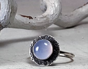 Blue Chalcedony Ring Sterling Silver Ring 8mm Blue Chalcedony Textured Oxidized Silver Ring