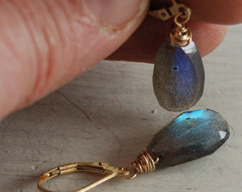 Labradorite Gold Earrings Gold Filled Wire Wrap