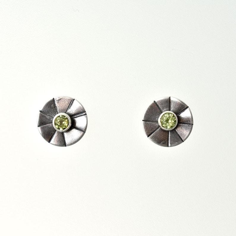 Sunburst Earrings in Peridot August Birthstone Peridot Studs Sterling Silver Posts