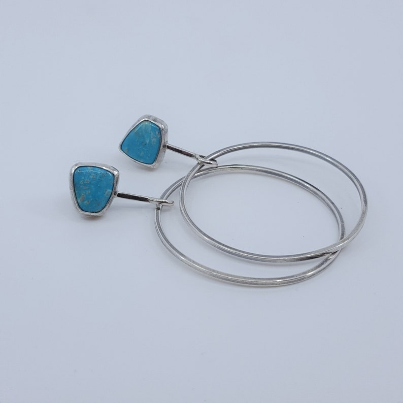 Silver Hoops with Turquoise Sterling Silver Hoops Turquoise Earrings Fox Turquoise Hoop Earrings