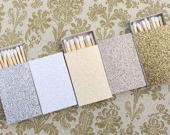 8 Matchbox Wedding Favors - White Cream Silver Gold Diamond Champagne