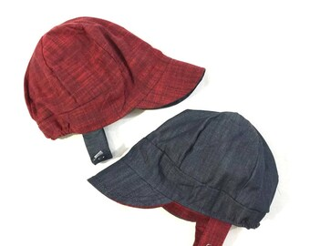 CUSTOM PIXIE HAT in red corduroy and the blue floral pictured  e375a1aa5467