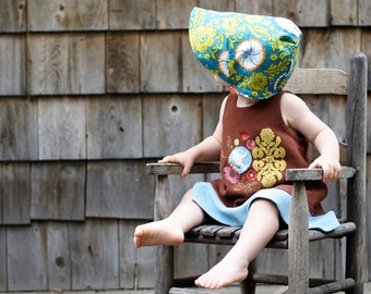 UB2 VINTAGE FLORAL a classic & sweetly vintage floral baby summer sun hat in turquoise and tangerine by The Urban Baby Bonnet (all sizes)
