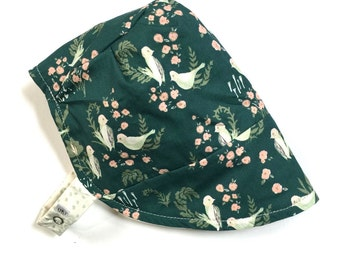354e1f0e3d8 UB2 ORGANIC LUSH emerald green   gorgeous ivory birds reverse to a delicate  dot on a baby summer sun hat