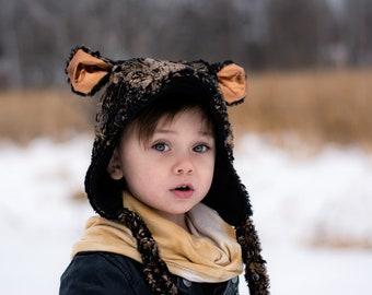 UB2 Pilot Bonnet in DISCO BEAR a bear ears copper gold bronze minky warm brimmed Polartec fleece perfect for winter w/ great ear coverage