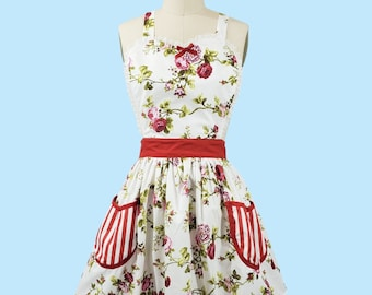 apron Cottage Chic pretty floral red Womens Retro full APRON  with pockets vintage style flirty gift aprons, rose print apron