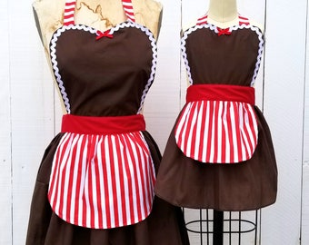 CHRISTMAS apron, Gingerbread apron, women and girls  apron,  mother daughter apron set,  holiday apron, baking apron