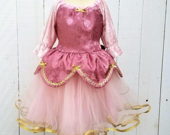 PINK PRINCESS dress, blush pink and gold dress, pink Princess dress, toddler girls dress, blush velvet dress for girls, rose pink dress