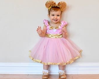 Pink and Gold first birthday dress, pink and gold  MINNIE MOUSE dress,  Minnie  TUTU  Party Dress for pink and gold first birthday