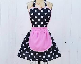 Housewarming Gift Sassy Pink Polkadot Waist Apron Black and Pink Apron Baking Cooking Handmade Hostess Half Apron