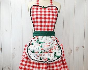 Christmas Apron, Mid Century Modern Christmas Apron, red Gingham Apron, retro Christmas apron,  women's apron, holiday apron, retro apron