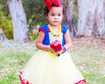 SNOW WHITE costume, Snow White dress,  girls princess dress, Handmade in the USA costume,  tutu dress style princess costume