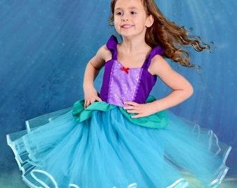 tutu dress Disney princess dress Tutu inspiration Arielle The little mermaid dress girl disguise carnival dress girl dress child