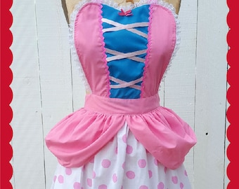 Little Bo Peep costume apron, womens costume apron, Bo Peep dress up ap-ron, Toy Story costume, retro apron, fairy tale costume, full apron