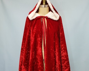 Women's Red Cape, Women's Cindy Lou Who dress, Red Velvet Cape, winter cape, Red Cosplay cape, Mrs Claus Cape, Cindy Lou Who Cape