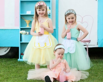 Girls dress, girls tutu dress, Pastel tutu dress, Ice Cream Parlor  dresses, retro dress for girls for tea party  in mint green yellow peach