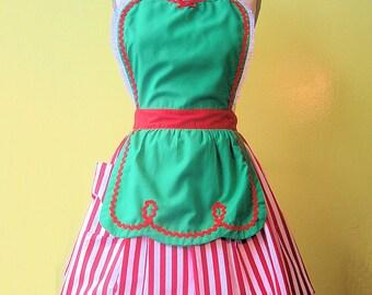 Christmas Apron Womens Apron Full Apron Green With Red Stripes Santas Helper Elf Apron Gift Hostess Gift Ready To Ship Now