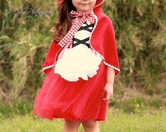 Red Riding Hood Costume for Girls Kids Halloween Cosplay Costume Party Dress up 3-10years