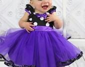 purple MINNIE MOUSE dress, Minnie Mouse Party Dress, purple Polka Dots, girls Birthday party dress, 2 3t sale