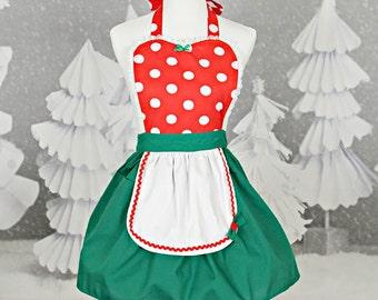 christmas apron minnie mouse apron minnie mouse christmas apron womens apron ready to ship red polka dots christmas apron - Christmas Apron