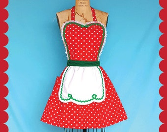 christmas apron retro apron red green polka dot full apron holiday hostess apron elf costume gift for her ready to ship - Christmas Apron