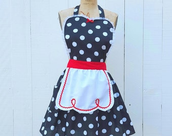 RETRO APRON  Lucy ... retro red black polka dot womens full apron flirty hostess gift vintage inspired I love Lucy