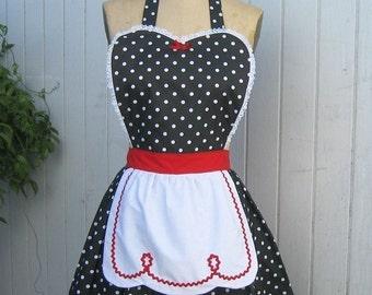 Polka Dot apron. RETRO APRON, Lucy apron, retro apron, red black polka dot apron,  womens apron, hostess gift, vintage style apron