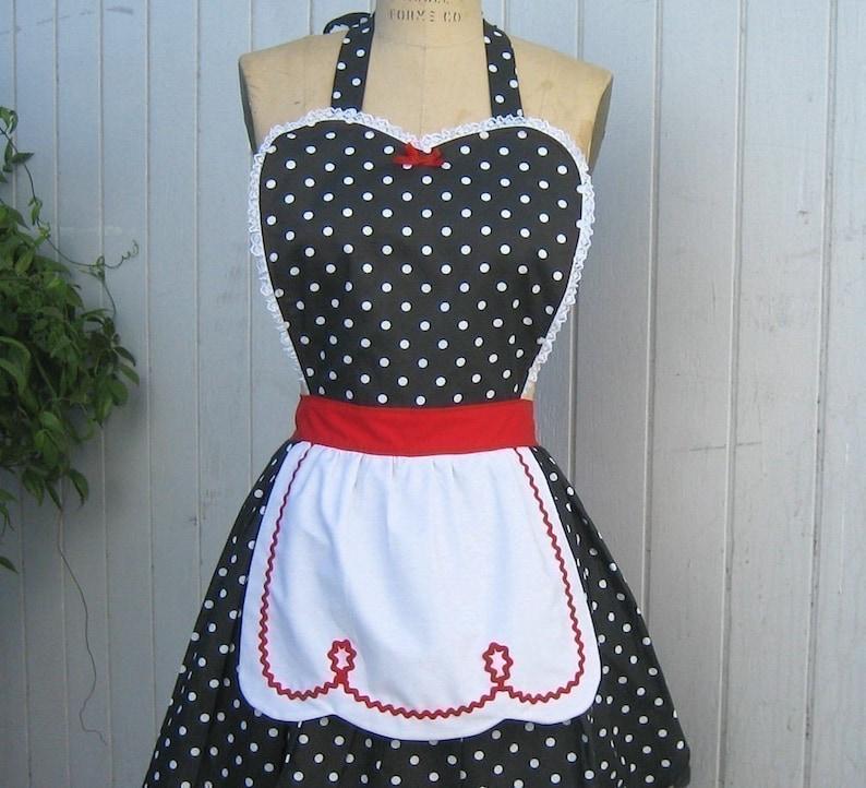 retro red black polka dot apron,womens  full apron RETRO APRON Lucyapron hostess gift vintage inspired