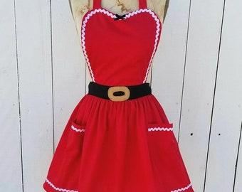 Santa Claus apron for women and girls, CHRISTMAS apron, Mrs Claus apron womens apron, Santas Helper, hostess gift, Santa costume apron