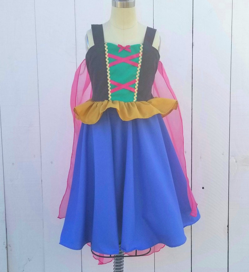 Anna dress with cape Superhero princess dress Princess dress Frozen dress princess cape dress Anna costume cape