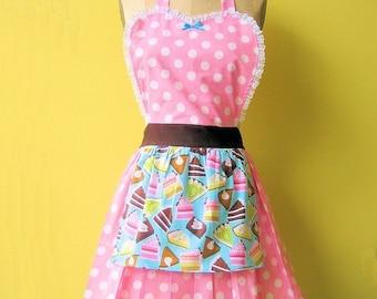 retro apron BAKERY SHOP  CAKES and Pies  retro pink polka dot full apron make a flirty hostess or bridal shower gift  women