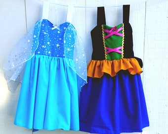 Elsa dress, Anna dress,  princess  dress,  Frozen dress,  birthday party dress, vacation princess dresses, comfortable princess dresses
