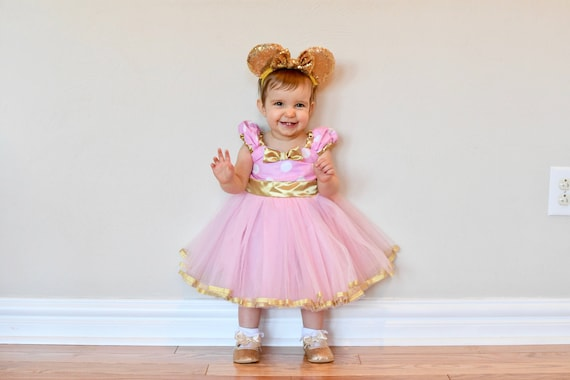 Pink And Gold First Birthday Dress Pink And Gold Minnie Etsy