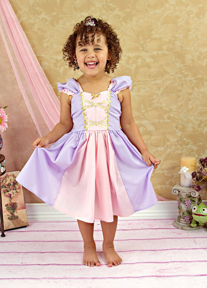 RAPUNZEL costume dress  princess dress for toddlers and girls image 0