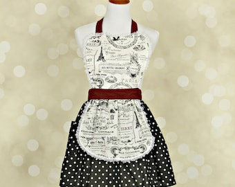 Paris print apron retro apron  black and burgandy  French maid pretty hostess or  bridal shower gift  that is vintage inspired flirty full