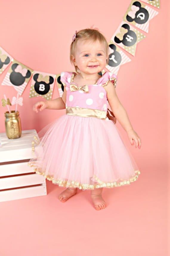 Pink And Gold Birthday Dress Minnie Mouse Dress Minnie Tutu Etsy