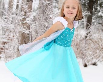 Elsa dress, Elsa costume, princess dress, Frozen dress, summer dress, toddler princess dress, comfortable princess dress, handmade dress,