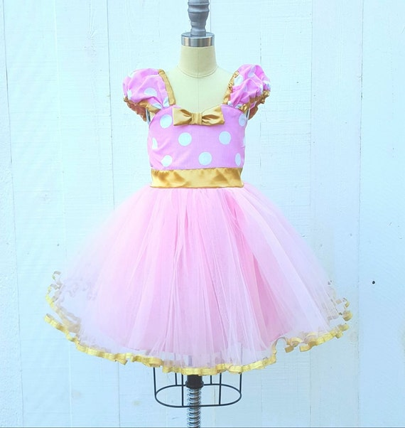 Pink And Gold Minnie Mouse Dress Pink And Gold First Birthday Etsy